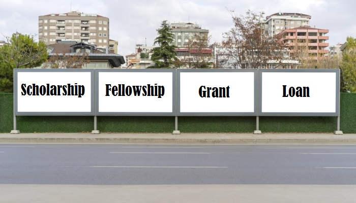 ¿Qué diferencia hay entre scholarship, fellowship, grant y loan?